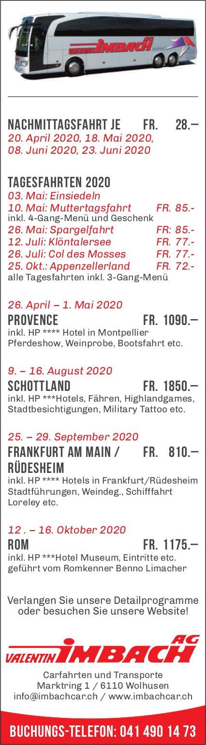 Reiseprogramm, bis 16. Oktober, Valentin Imbach AG, Wolhusen