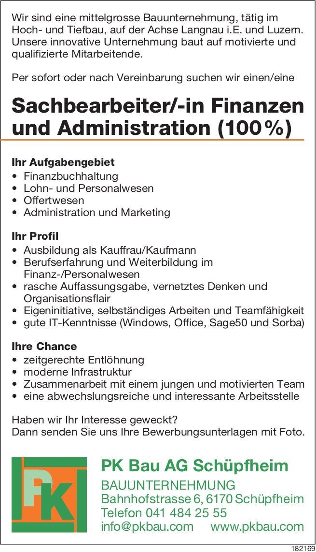 Sachbearbeiter/-in Finanzen & Administration (100%), PK Bau AG Bauunternehmung,  Schüpfheim