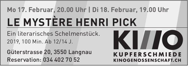 LE MYSTÈRE HENRI PICK, 17. + 18. Februar, Kino Kupferschmiede,  Langnau