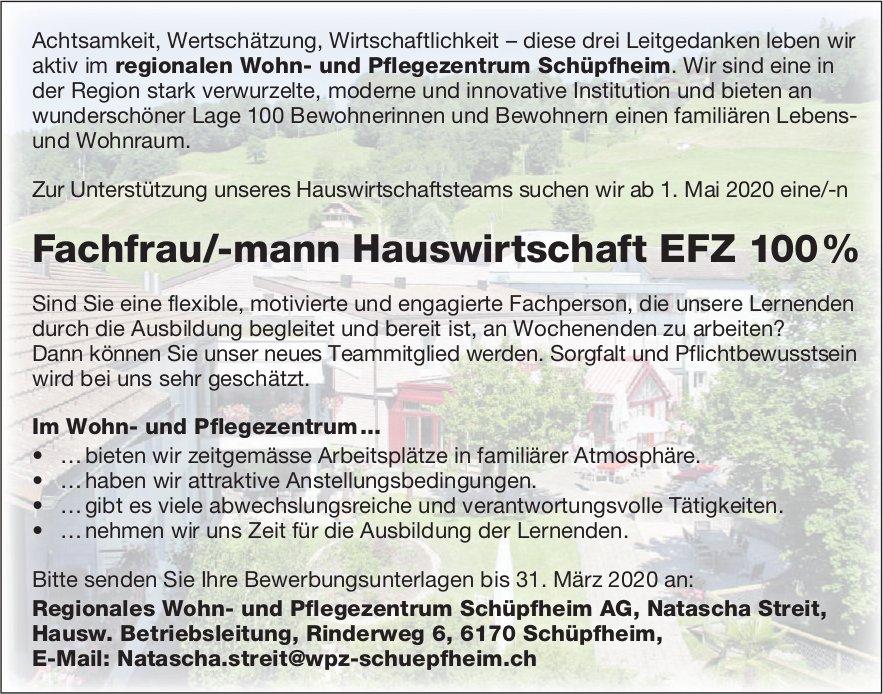 Fachfrau/-mann Hauswirtschaft EFZ 100%, Regionales Wohn- und Pflegezentrum,  Schüpfheim, gesucht