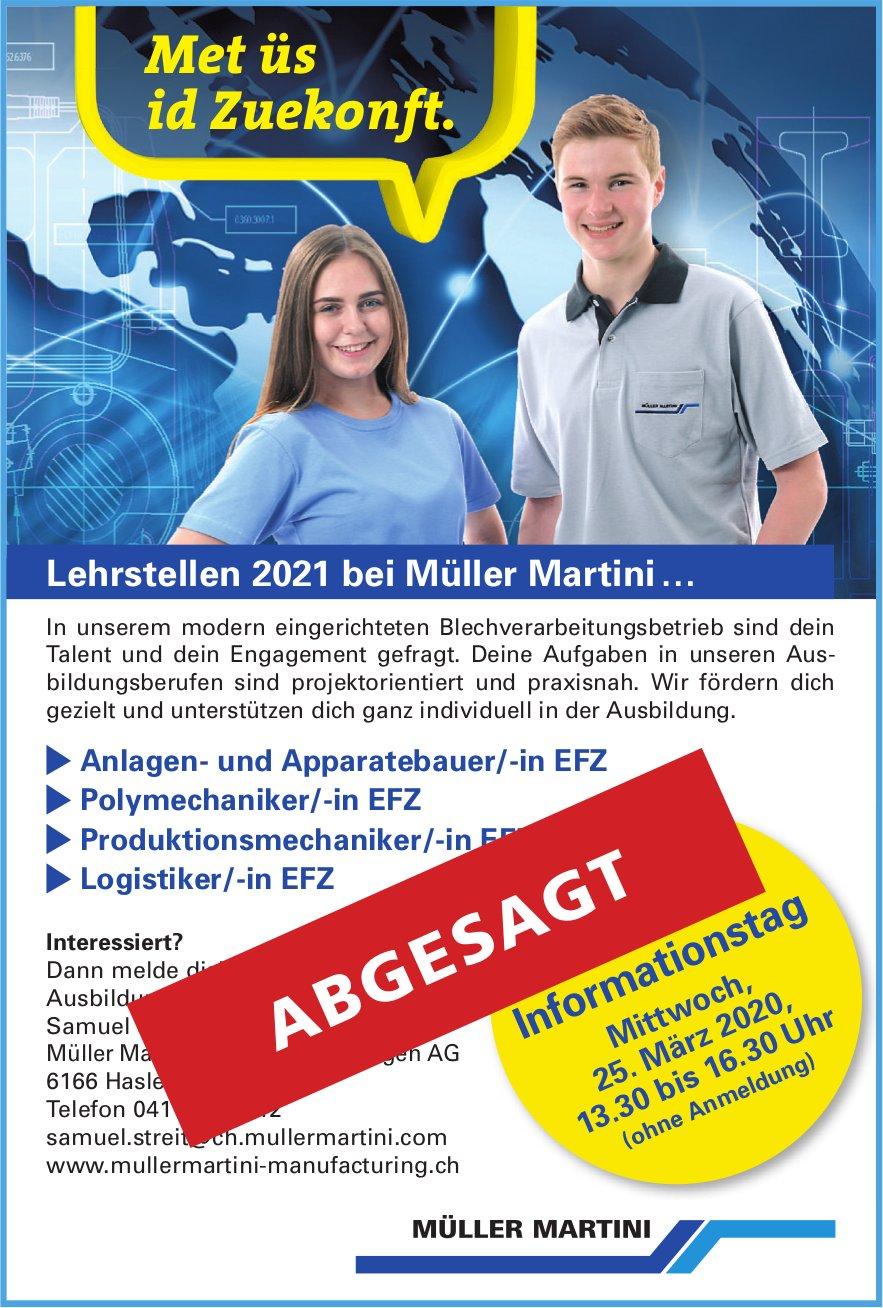 Lehrstellen 2021 - Informationstag, Müller Martini AG Hasle - ABGESAGT