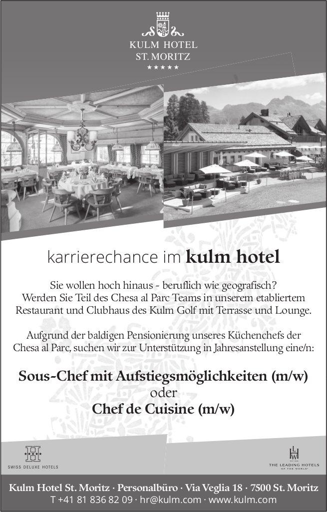 Sous-Chef mit Aufstiegsmöglichkeiten (m/w) oder Chef de Cuisine (m/w) gesucht