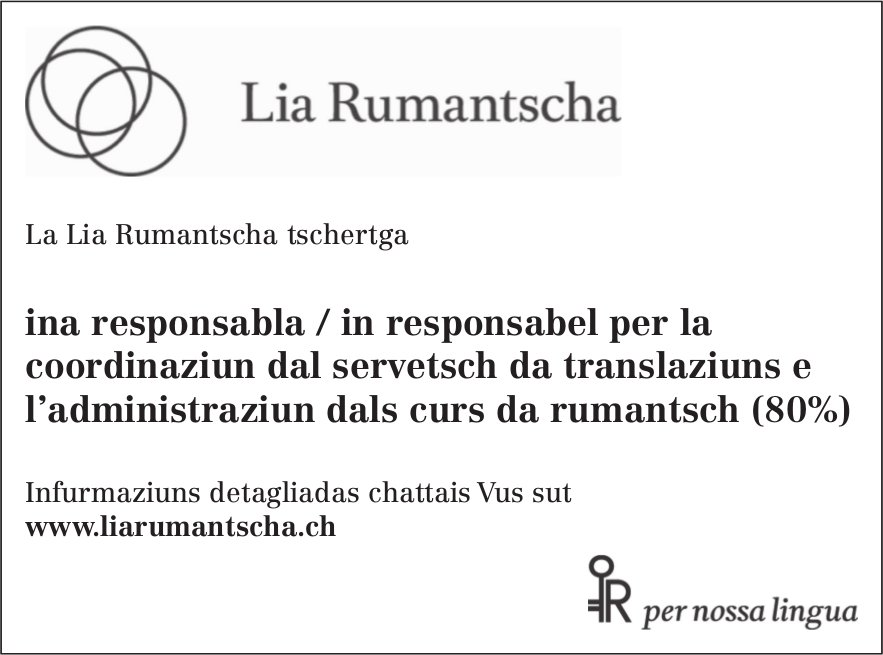 responsabla/in responsabel per la coordinaziun dal servetsch da translaziuns