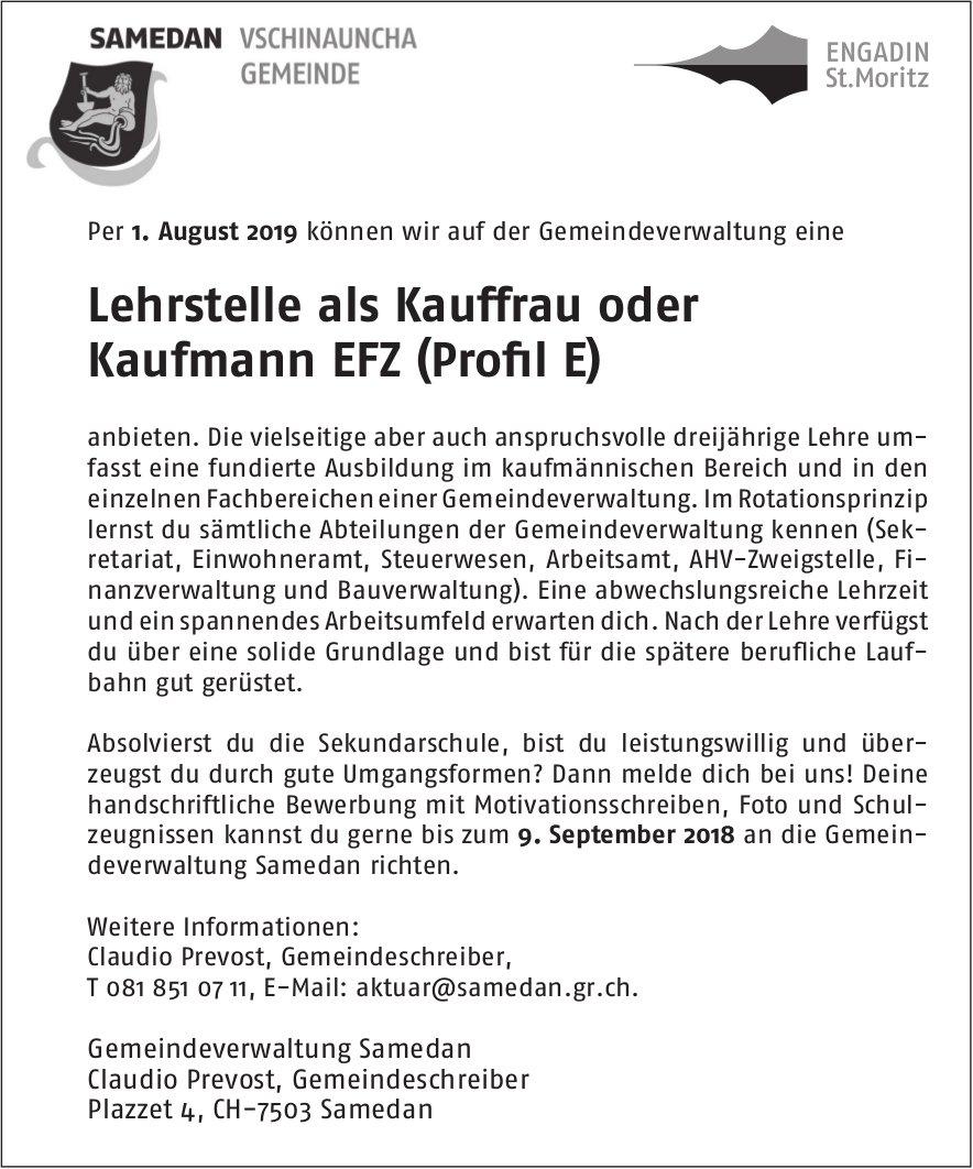 Lehrstelle als Kauffrau oder Kaufmann EFZ (Profil E), Gemeindeverwaltung Samedan