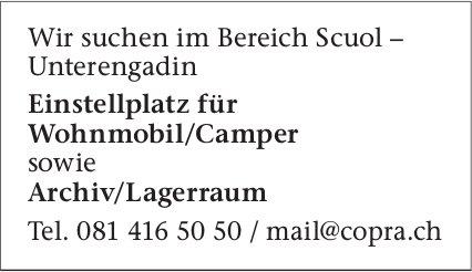 Einstellplatz für Wohnmobil/Camper sowie Archiv/Lagerraum gesucht