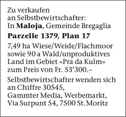Parzelle 1379, Plan 17 zu verkaufen