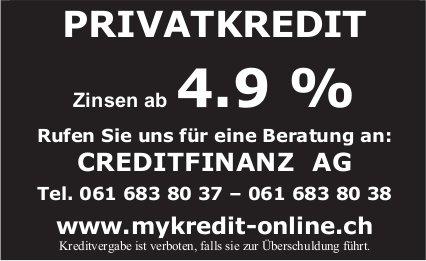 Privatkredit - Zinsen ab 4.9%, Creditfinanz AG