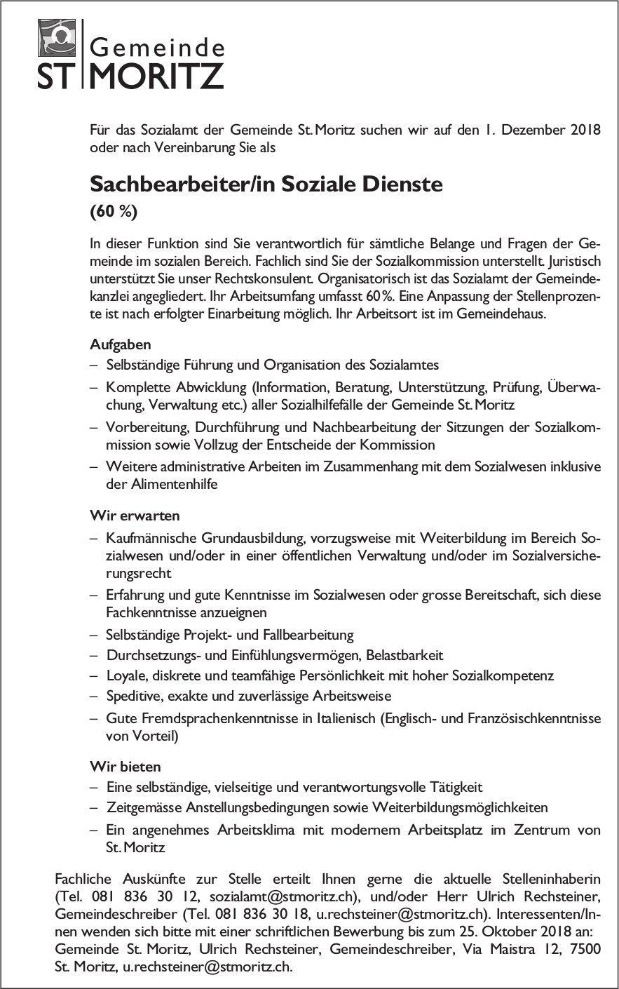 Sachbearbeiter/in Soziale Dienste (60 %) bei Gemeinde St. Moritz gesucht
