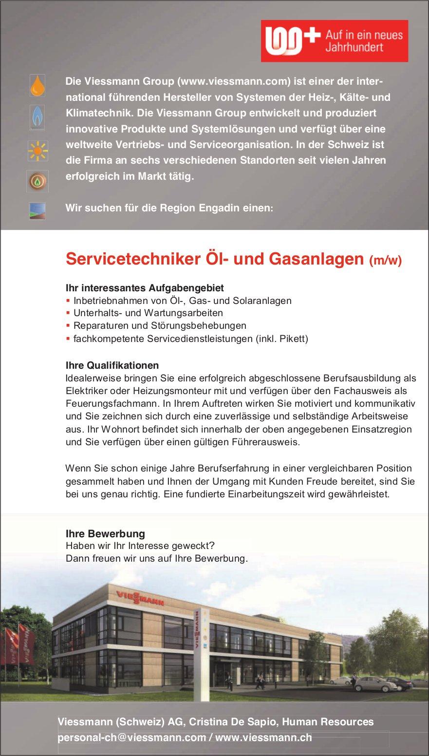 Servicetechniker Öl- und Gasanlagen (m/w) bei Viessmann (Schweiz) AG gesucht