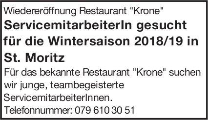 Servicemitarbeiterln für die Wintersaison 2018/19 im Restaurant Krone  in St. Moritz  gesucht