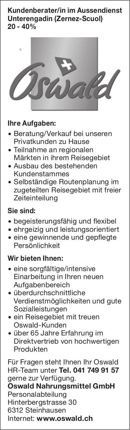 Kundenberater/in im Aussendienst Unterengadin 20-40% bei Oswald Nahrungsmittel GmbH gesucht