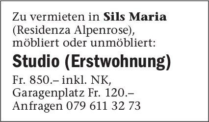 Studio (Erstwohnung), Sils Maria, zu vermieten