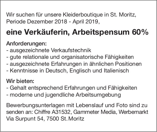 Verkäuferin, Arbeitspensum 60%, St.Moritz, gesucht