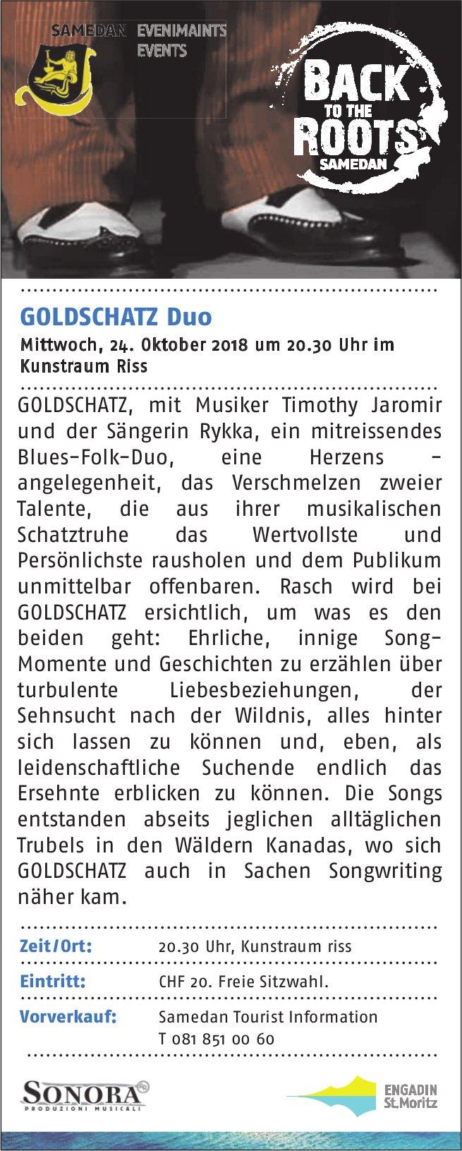 GOLDSCHATZ Duo, 24. Oktober, Kunstraum Riss, Samedan