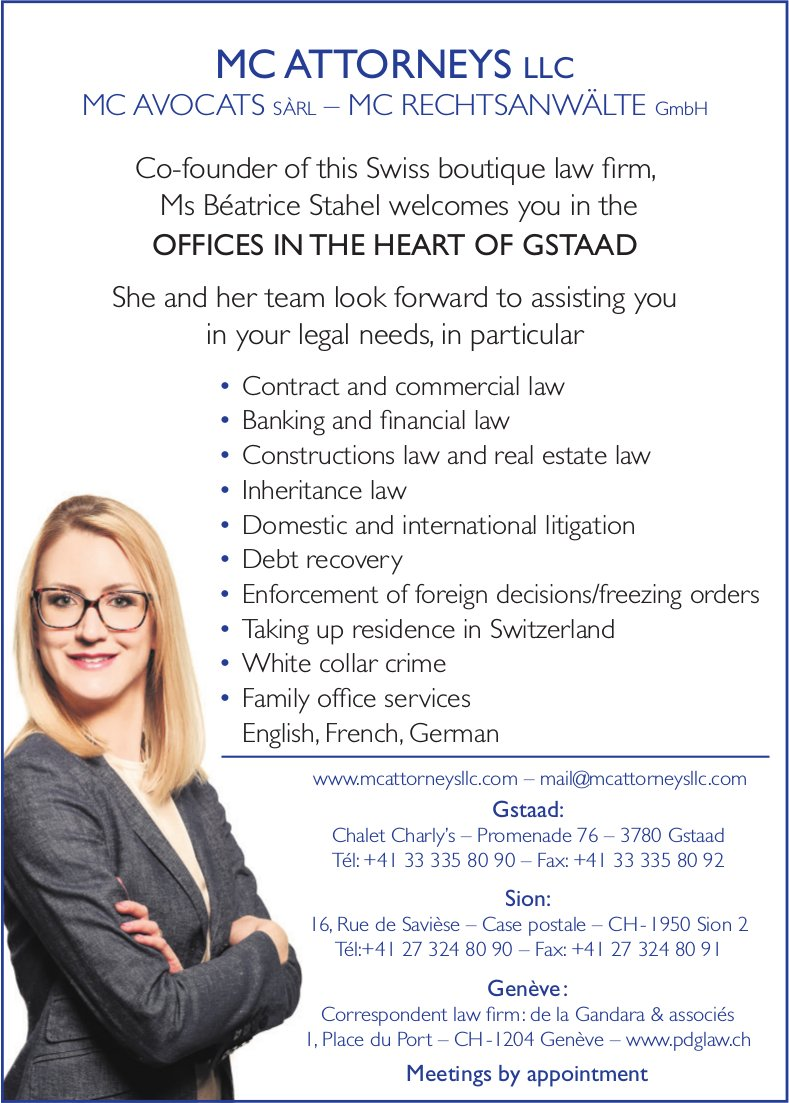 MC ATTORNEYS LLC - Ms Béatrice Stahel welcomes you in the offices in the heart of Gstaad