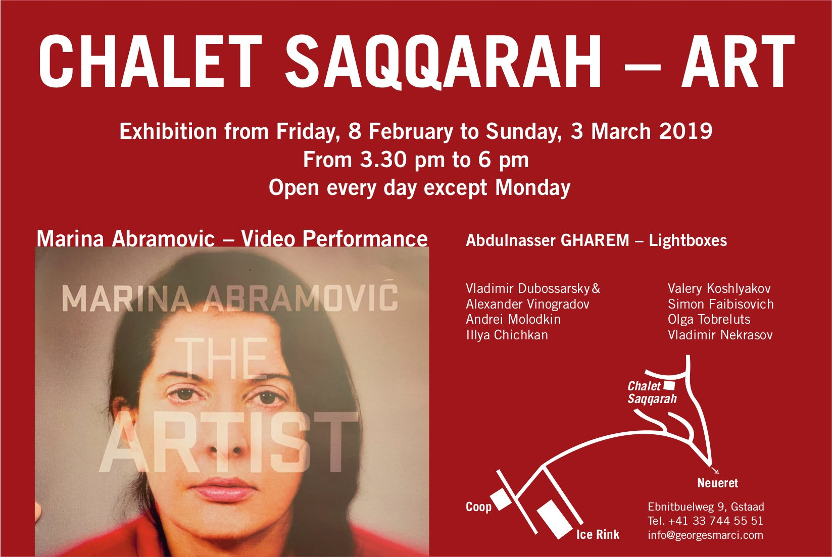 Marina Abramovic, 8 February - 3 March, Chalet Saqqarah - Art
