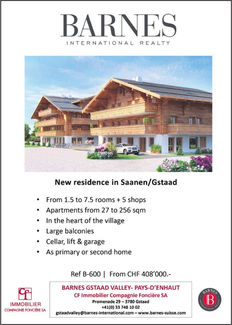 Apartments 1.5 to 7.5 rooms + 5 shops, Saanen/Gstaad, for sale