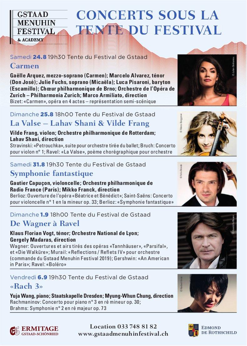 GSTAAD MENUHIN FESTIVAL - CONCERTS SOUS LA TENTE DU FESTIVAL, 24. August - 6. September