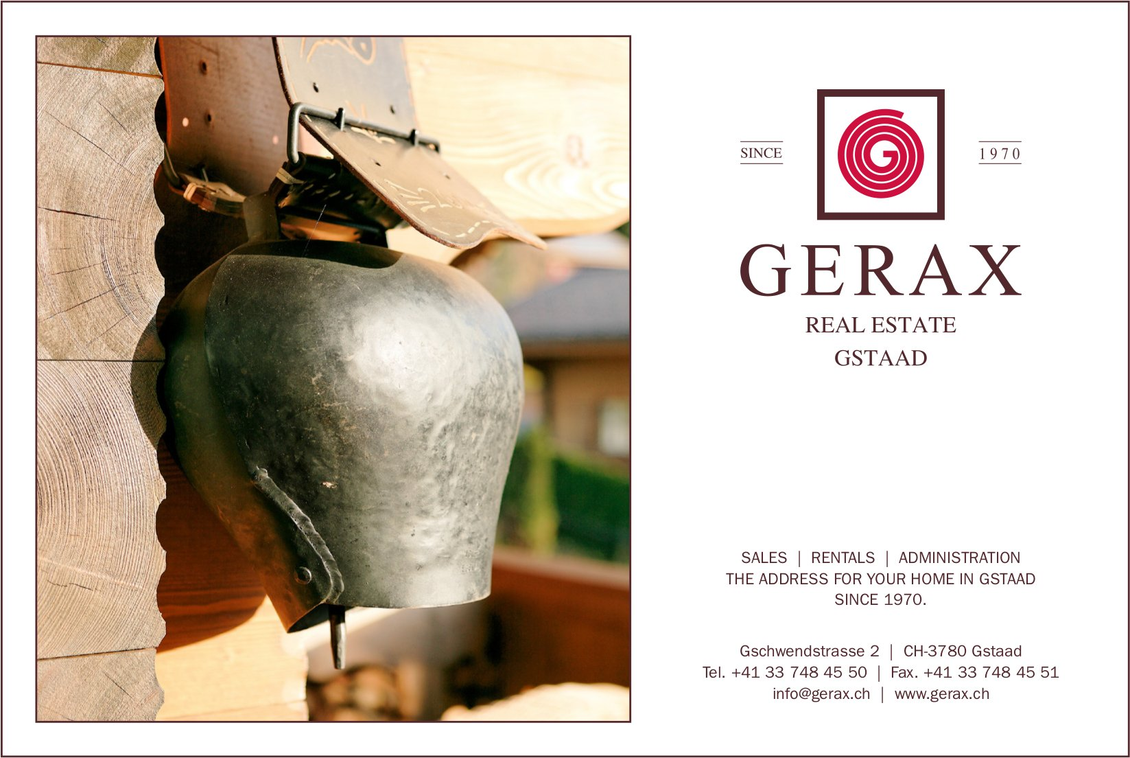 GERAX, REAL ESTATE, GSTAAD - SALES, RENTALS, ADMINISTRATION