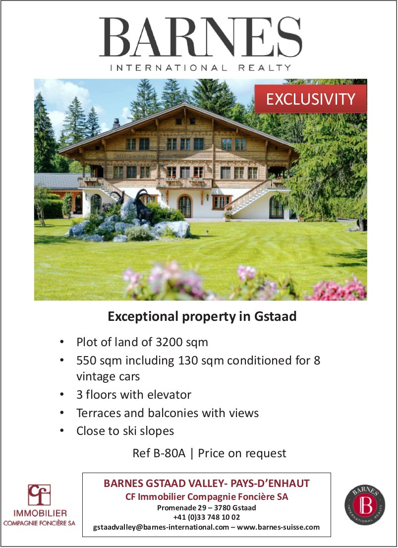 Exceptional property in Gstaad, for sale