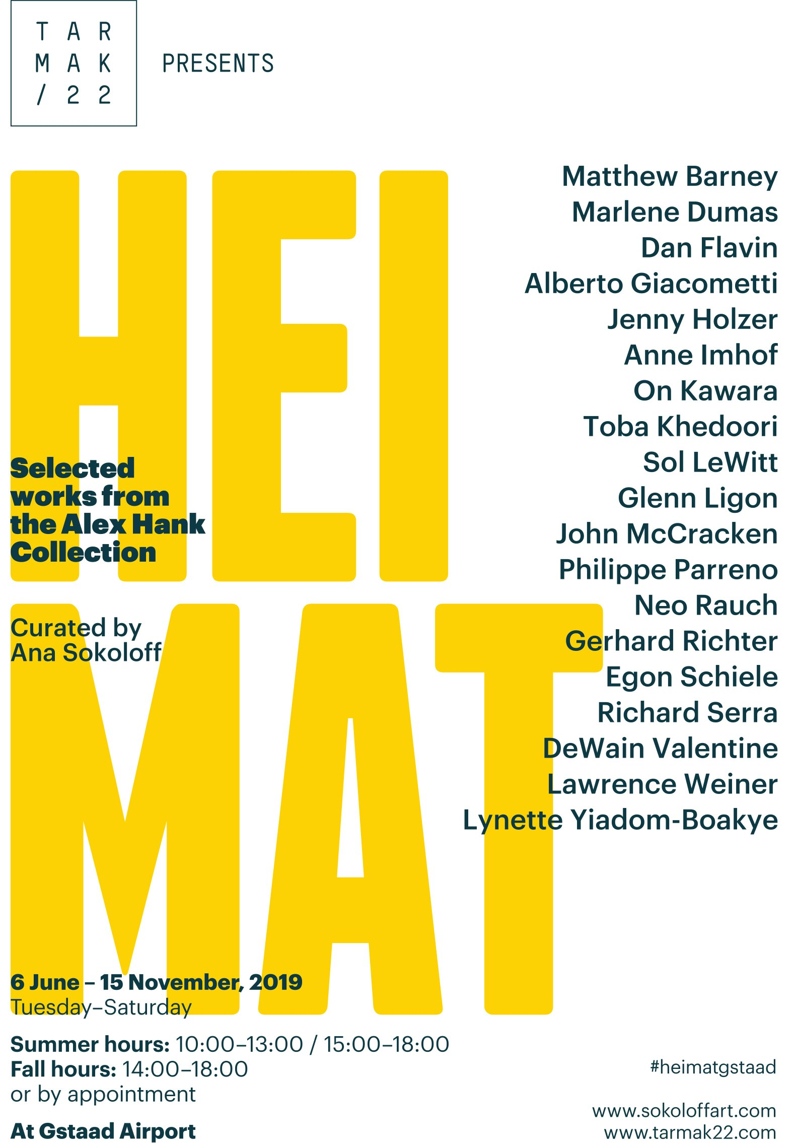 HEIMAT - Selected works from the Alex HankCollection, up to 15 November, at Gstaad Airport