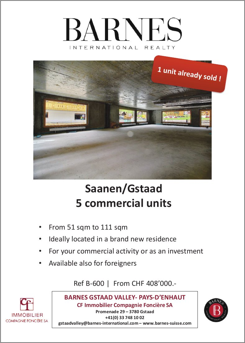 5commercialunits, Saanen, for sale