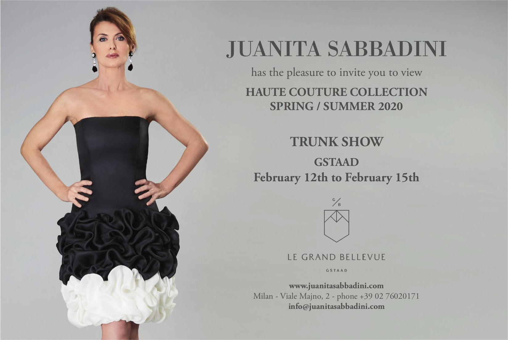 TRUNK SHOW,  HAUTE COUTURE COLLECTION SPRING/SUMMER 2020, ab 12. Februar, LE GRAND BELLEVUE, GSTAAD