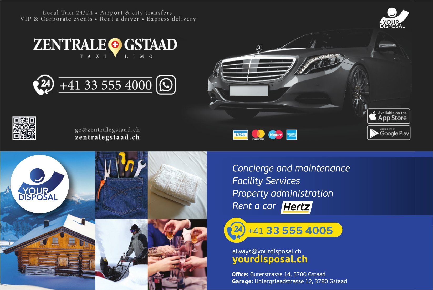 ZENTRALE GSTAAD,  TAXI & LIMO und YOUR DISPOSAL, GSTAAD