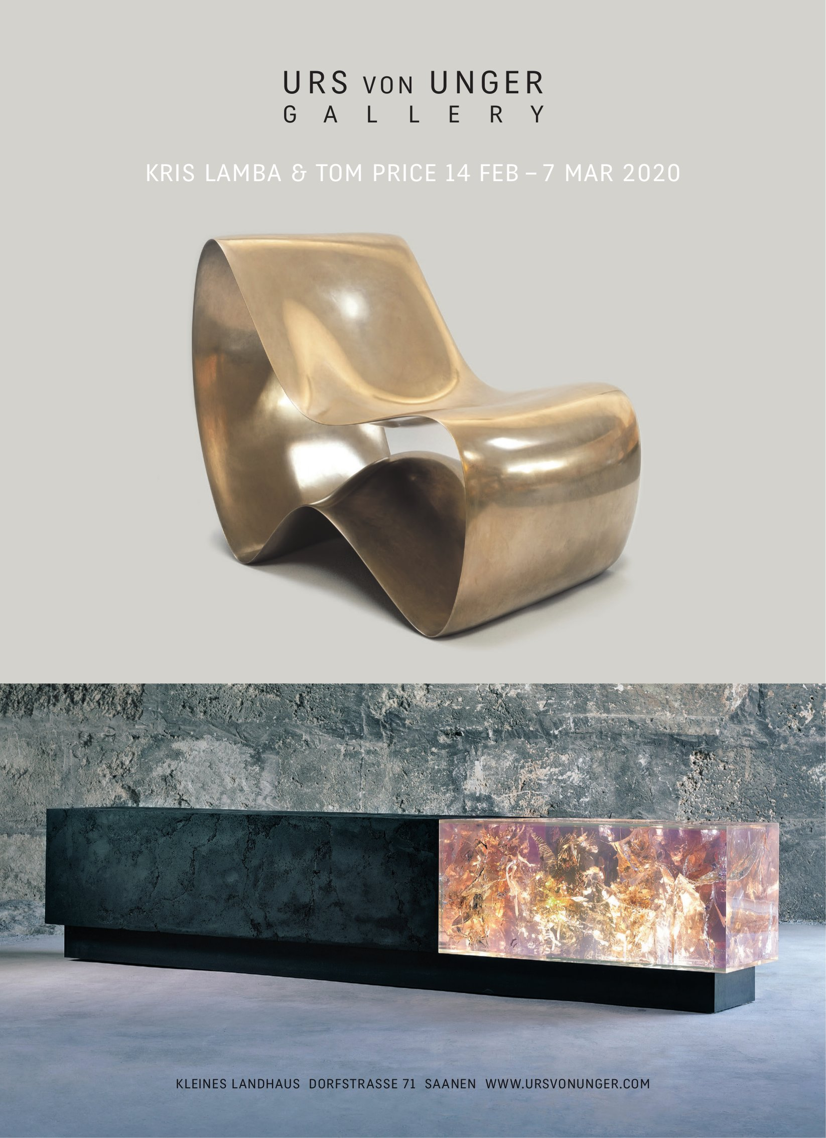 URS VON UNGER GALLERY, SAANEN, KRIS LAMBA & TOM PRICE 14 FEB – 7 MAR 2020