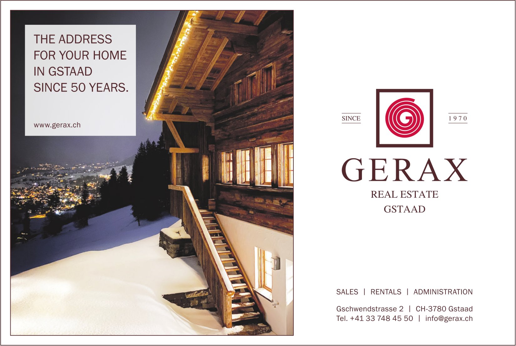 GERAX REAL ESTATE,  Gstaad, THE ADDRESS FOR YOUR HOME IN GSTAAD SINCE 50 YEARS