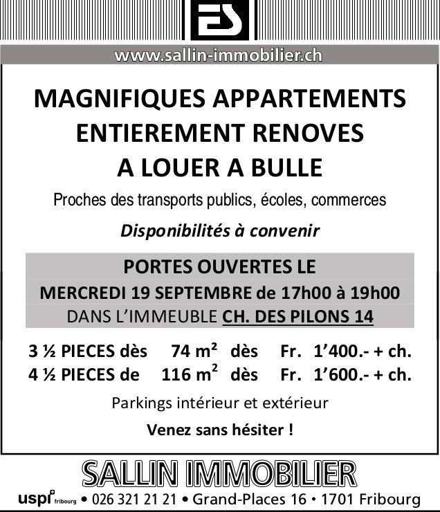 MAGNIFIQUES APPARTEMENTS, 3.5 à 4.5 PIÈCES, BULLE, À LOUER