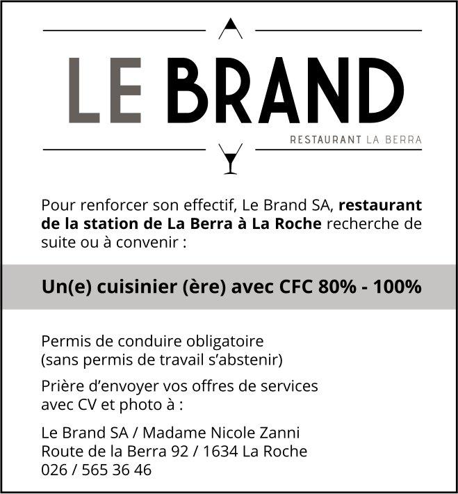 Un(e) cuisinier (ère) avec CFC 80% - 100%, restaurant La Berra, La Roche, recherché