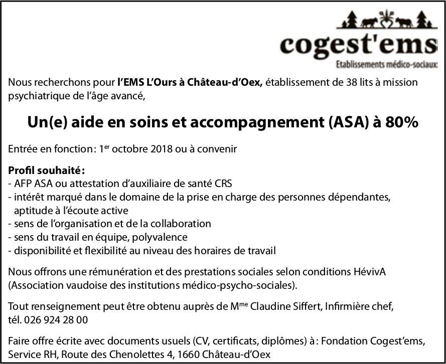 Un(e) aide en soins et accompagnement (ASA) à 80%, Cogest'ems, Château-d'Oex, recherché