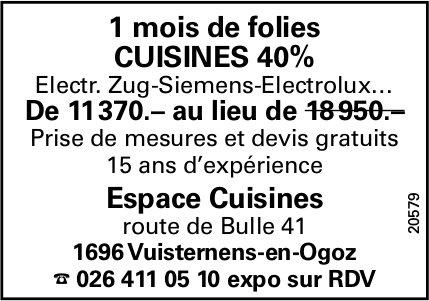 Espace Cuisines, Bulle, 1 mois de folies cuisines 40%