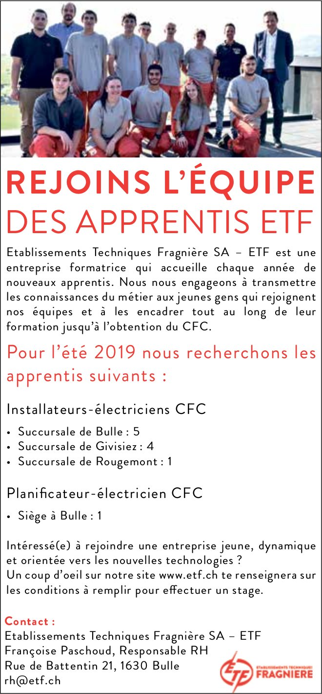 REJOINS L'ÉQUIPE DES APPRENTIS ETF, Établissements Techniques Fragnière SA, Bulle, recherché