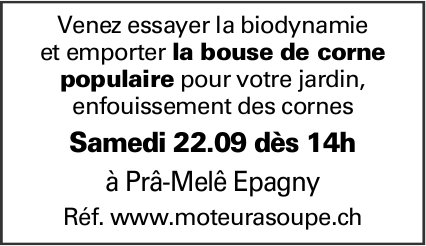 Biodynamie, 22 septembre, Epagny, bouse de corne populaire pour jardin disponible