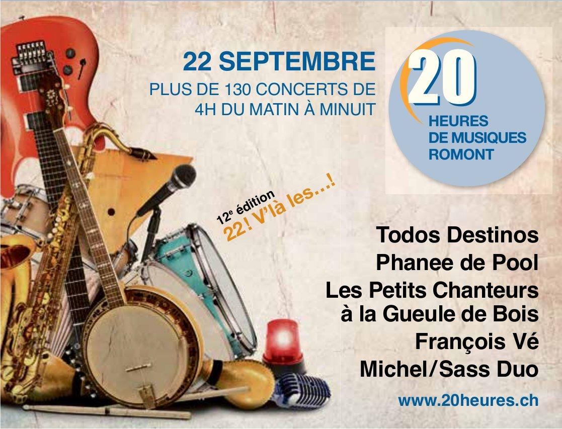 20 Heures de Musique Romont, 22 septembre, plus de 130 concerts de 4h du matin à minuit