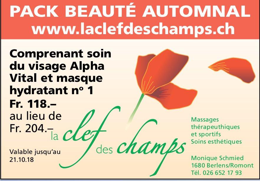 La Clef des Champs, Romont, Comprenant soin du visage Alpha Vital et masque hydratant no 1 Fr. 118.–