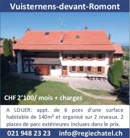 Appartement, 6 pièces, Vuisternens-devant-Romont, à louer