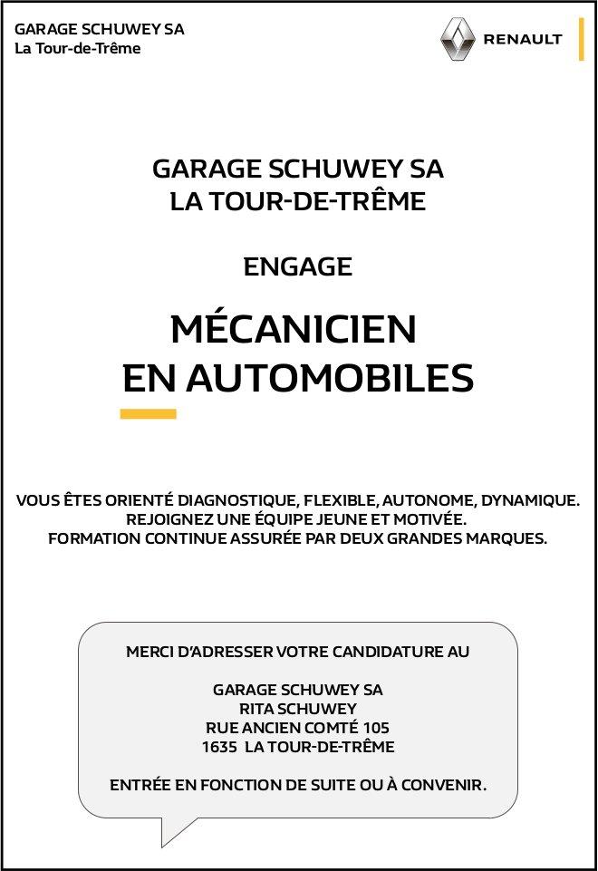 MÉCANICIEN EN AUTOMOBILES, GARAGE SCHUWEY SA, LA TOUR-DE-TRÊME, RECHERCHÉ