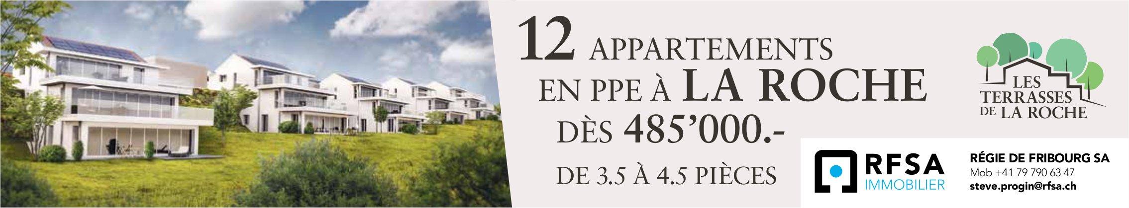 Appartements, 3.5 à 4.5 pièces, La Roche, à louer