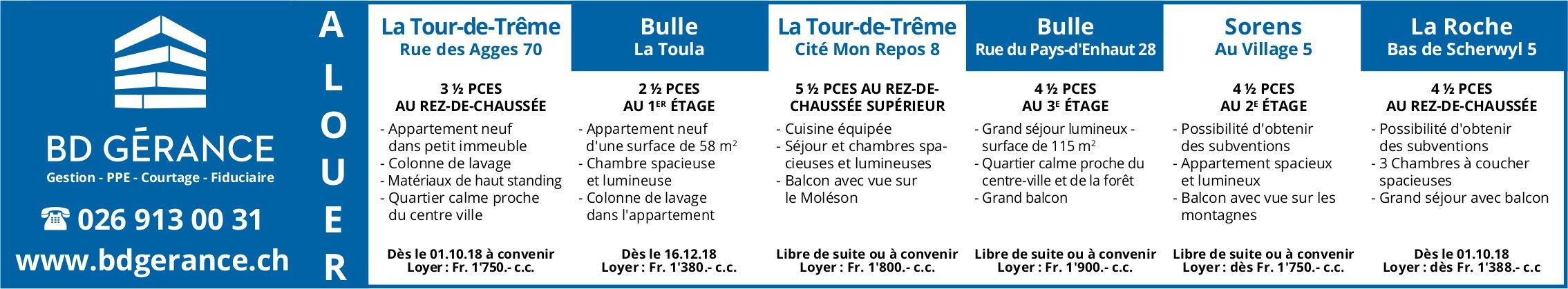 Appartements, 2.5 à 4.5 pièces, La Tour-de-Trême- Bulle, à louer