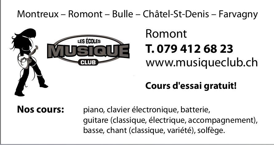 Les école Musique Club, Romont, Cours d'essai gratuit