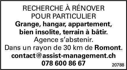 RECHERCHE À RÉNOVER POUR PARTICULIER, Grange, hangar, appartement, bien insolite, terrain à bâtir.