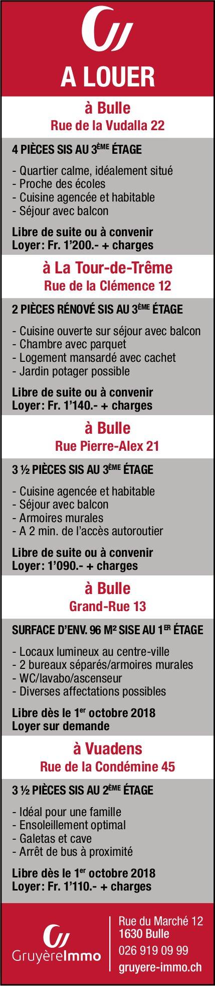 Appartement, 2 à 4.5 pièces, Bulle- La Tour-de-Trême - Vuadens, à louer