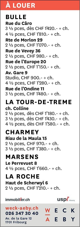 Appartements, 2.5 à 4.5 pièces, Bulle- La Tour-de-Trême-Charmey, à louer