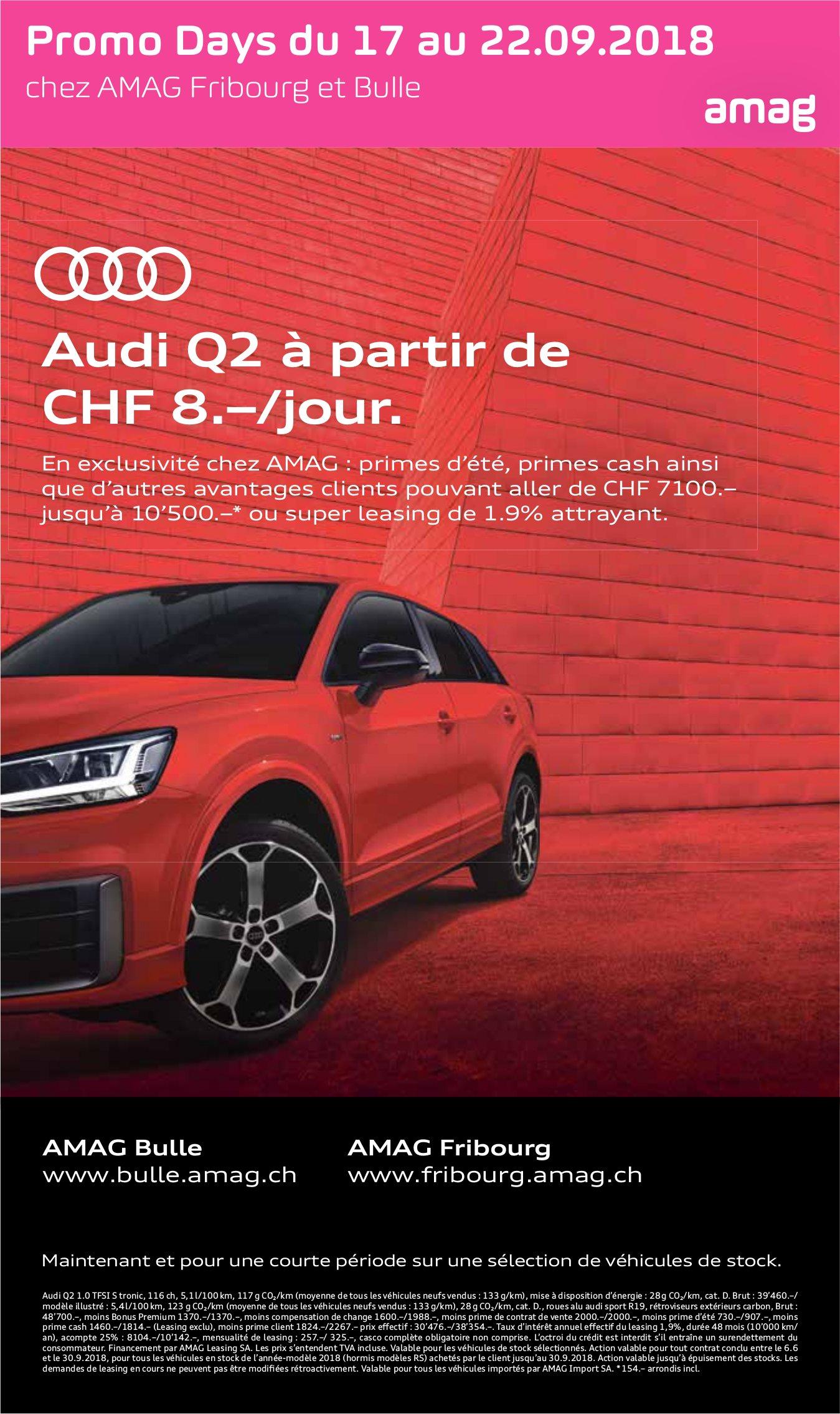 AMAG Bulle, Audi Q2 à partir de CHF 8.–/jour.