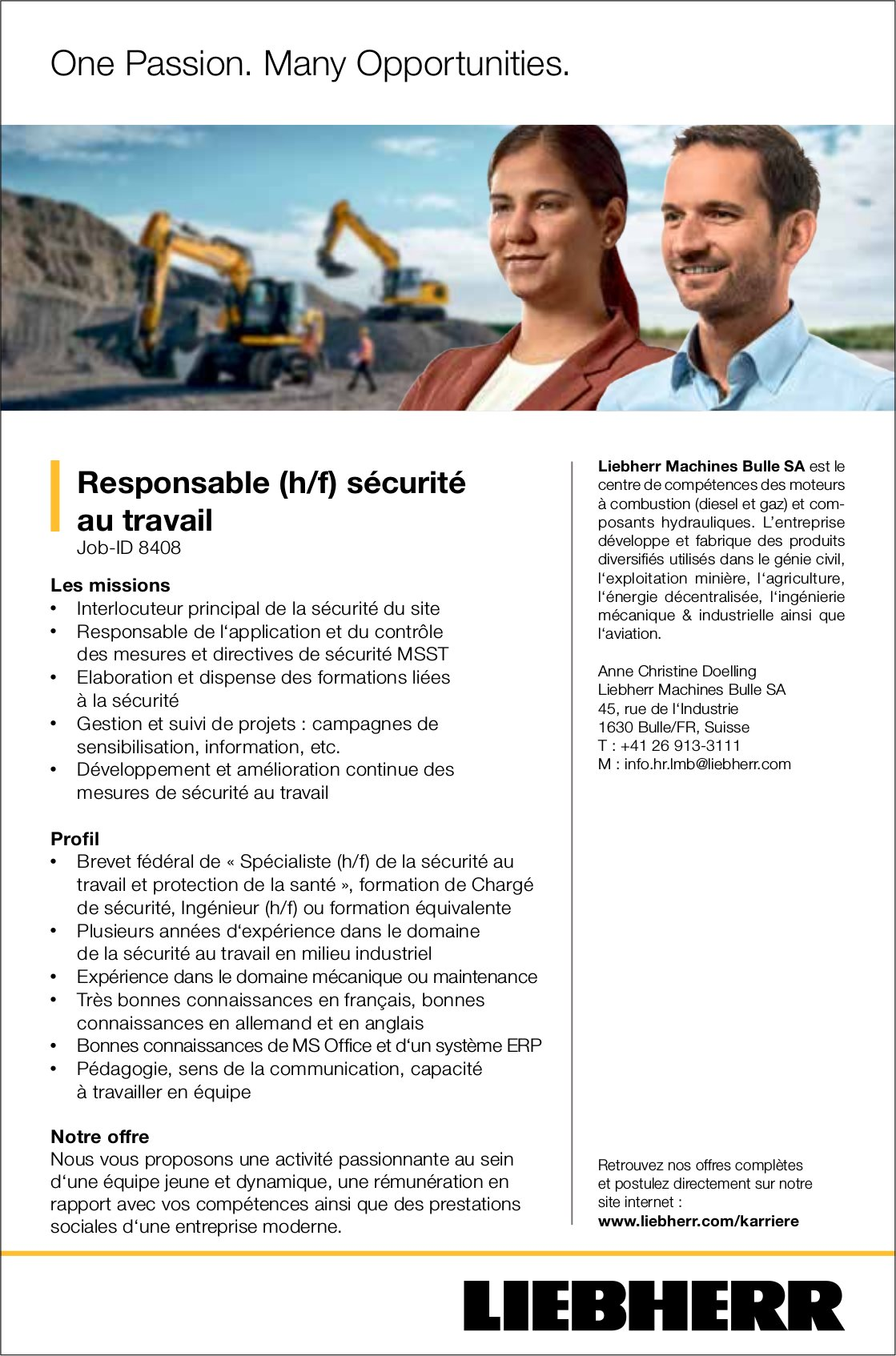 Responsable (h/f) sécurité au travail, Liebherr, Bulle, recherché