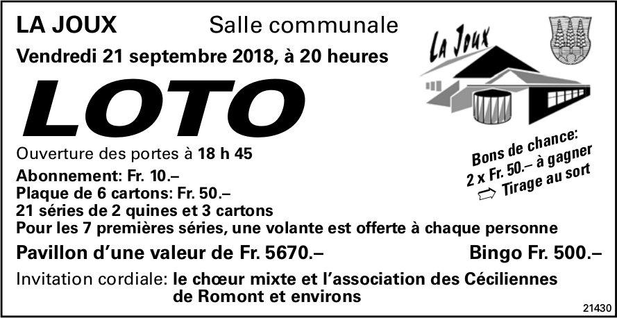 LOTO, 21 septembre, Salle communale, La Joux