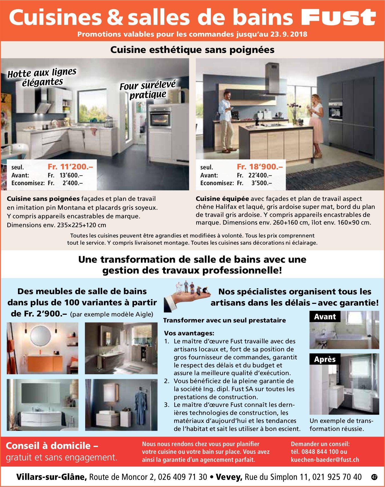 Cuisines & salles de bains Fust, Villars-sur-Glâne, Pour une transformation de salle de bain